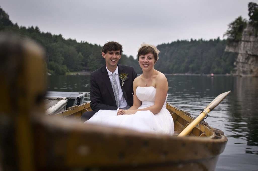Heather and Stephen in a boat at Mohonk